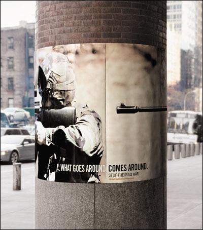 뉴욕과 워싱턴의 전봇대에 붙인 이제석씨의 반전포스터 '뿌린대로 거두리라'. 이라크전에 참전 한 병사의 총구가 결국 자신을 향하고 있다. 세계 3대 광고 공모전의 하나인 '원쇼 페스티벌' 최고상 수상작이다.