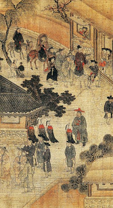 조선시대에 그려진 '혼인식'으로 신랑이 혼인식을 하러 신부 집으로 가는 장면. 조선에서 친영례는 조선 후기까지도 끝내 정착하지 못했다. 여자 집에 거주하는 기간은 짧아졌지만 혼인식 자체는 여전히 여자 집에서 이뤄졌기 때문이다. 너머북스 제공